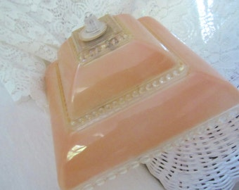 Retro Vintage Plastic Light Lamp Shade - Clear and Peachy - Clip On - Shabby Cottage