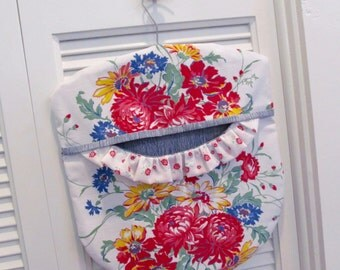 Laundry Day Clothes Pin Bag - Red Blue Yellow Floral - Repurposed Vintage Tablecloth and Wood Hanger