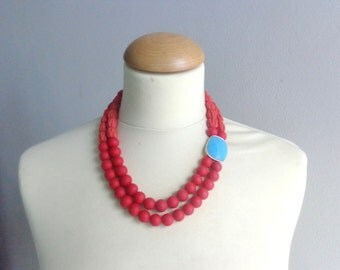 Red valentines jewelry, double strand red turquoise statement necklace