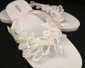 One of a Kind Ivory Venice Lace Beaded Top Bridal Wedding Flip Flops Size 9/10