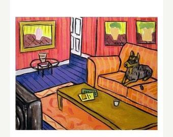 ON SALE Doberman Pinscher Watching television Dog Art Print