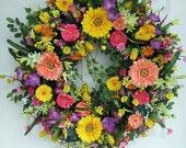 Custom order for Brandi, any color combination, Large Beautiful Spring wreath, Door wreath,  Front door wreath,