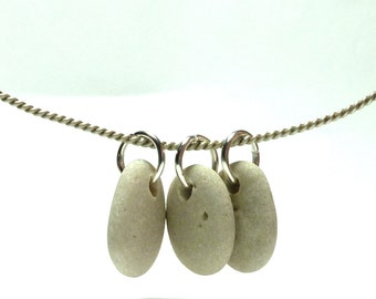 3 Beach Stones Cluster Pebble Pendant Beads DIY Jewelry Making Set River Rock Blonde Charms Organic Creations VISIONS