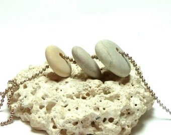 Beach Stone Stack Cairn Center Drilled Pebble Spacers Natural Stone Stacker River Rock Pebble DIY Jewelry Making 3 DOTS