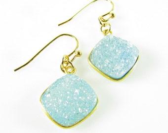 Light Blue Druzy Earrings