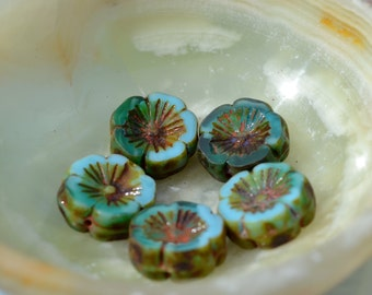 Light Turquoise Blue Hawaiian FLower Czech Glass Beads  5