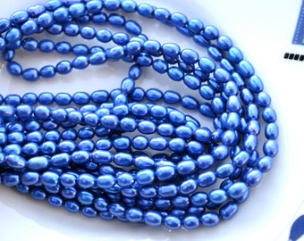 Vivid Royal Blue Small Rice Freshwater Pearl Beads