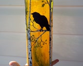 Regal Raven in an Autumn Birch Forest Sculpted with Polymer Clay onto a Recycled Glass Vase/Candle Holder