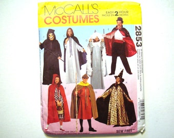 McCalls 2853 Costume Pattern UNCUT Cape and Tunic Halloween Witch Princess Magician Ghoul Grim Reaper Robin Hood Maid Marian Red Riding Hood