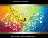"""Acrylic painting  Hand Paint Love birds Wall decor Wall art wall hangings decorative canvas art """"Spring Love"""" by qiqigallery"""