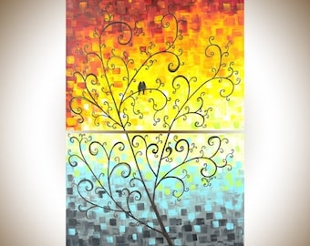 """Colorful love birds art wall art wall decor original artwork red yellow orange green blue grey canvas painting """"Dawn"""" by qiqigallery"""