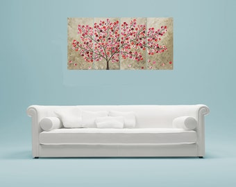 """Red leaves tree Contemporary wall art Colorful art Large canvas art wall Decor shabby chic original artwork """"Flying Blossoms""""by qiqigallery"""