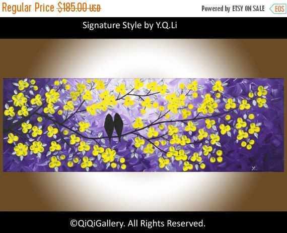 """yellow wall art Love birds art Colorful Original artwork purple yellow flowers wall art wall decor canvas art """"Evening Chat"""" by QIQIGALLERY"""