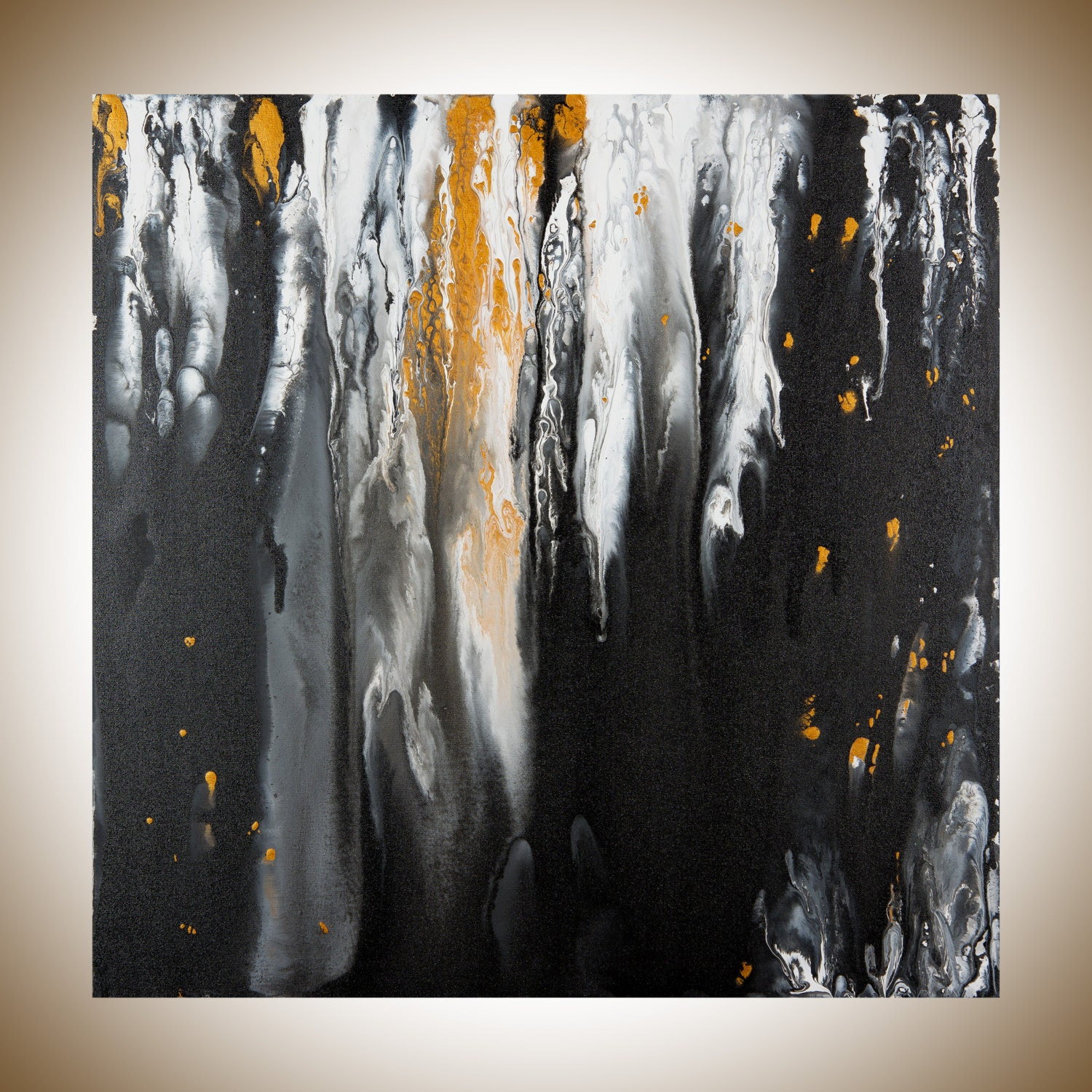 Black white gold acrylic painting original abstract art square for Gold paintings on canvas