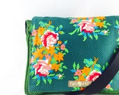Green Floral Rose Bouquet MESSENGER Book iPad Laptop Diaper BAG