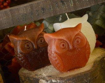 Set of 3 fall inspired owl candles brown ivory and burnt orange