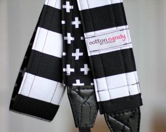 Black & White Stripe - Reversible Camera Strap