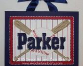 Baseball, canvas name sign, sports nursery art, Custom wall art, hand painted, navy blue, red, bat, mvp, boys sports decor, sports wall art
