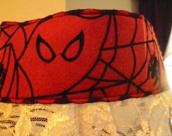 Headband--ghost and spider in web on red felt, halloween costume, halloween headband