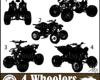 4 Wheelers Silhouettes set 1 - 5 PNG clipart graphics files ATV vehicles [Instant Download]