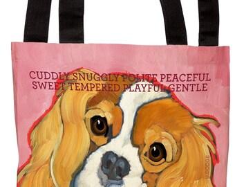 Cavalier King Charles Spaniel canvas tote bag, blenheim cavalier tote bag, cavalier beach tote, cavalier grocery tote, king charles spaniel