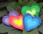 Rainbow Hearts Valentines day Ornaments Felt Hanging Decorations
