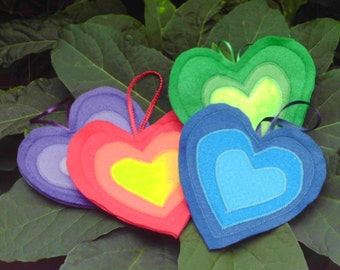 Rainbow Hearts Valentines day Ornaments Felt Hanging Decorations