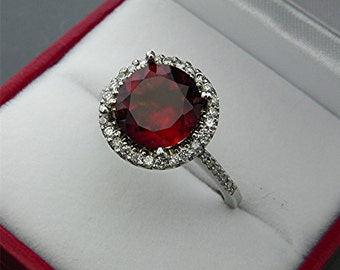 AAAA Red Hessonite Garnet   9mm  2.74 Carats   in 14K White gold Halo ring with  .30 carats of diamonds 2142 Y