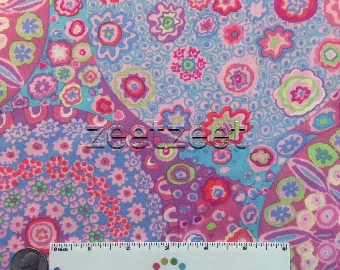 Kaffe Fassett MILLEFIORE PINK Purple GP92 Quilt Fabric - by the Yard, Half Yard, or Fat Quarter Fq Orchid Light Blue Tomato Citron