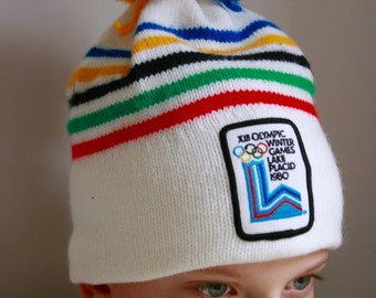 Vintage Winter Olympics ski hat  Lake Placid 1980 wool