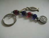 Beaded Religious Keychain with Red and Purple Beads and Silver Tone Metal Fish  Russian Double Headed Eagle and Cross