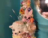 On hold for Kasey Darling Vintage Samson Imports Lamb Planter Easter Bottle Brush Tree OOAK