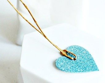 Aqua Blue Glitter Heart Tags {10} Gift Labels | New Baby Boy Announcement | Christening or Baptism