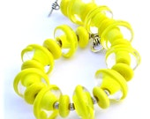 Yellow Statement Bracelet - Summer Bracelet - Spring Jewelry - Summer Jewelry - Designer Bracelet - Glass Beaded Bracelet - Chunky Bracelet