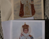 Infant of Prague Infant King and Priest, Stationary Cards with Envelopes, White and Ivory Card Stock taken from my Original Acrylic Painting