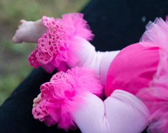 Hot Pink Ruffle Tutu Leg Warmers, Lace, Ribbons & Pearls  Leg Warmers - Perfect for Birthday Party, Photo Prop, Holida Gifts