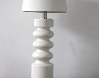 Tall White Mod Ceramic & Chrome Table Lamp