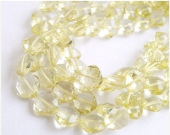 Clearance SALE Lemon Quartz Gemstone Briolette Checkerboard Faceted 10.5 to 12mm 8 beads