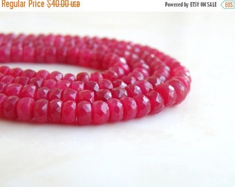 Mega SALE Ruby Gemstone Faceted Rondelle 3 to 4mm 55 beads