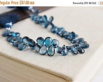 Mega SALE Outrageous London Blue Topaz Briolette Gemstone Faceted Pear TearDrop 10.5mm 6 beads