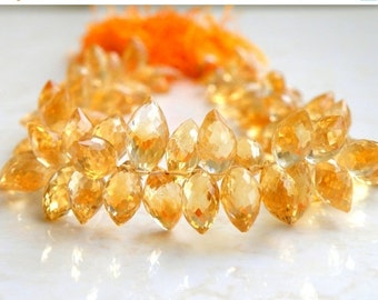 51% Off Sale Outstanding Citrine Gemstone Briolette Faceted TearDrop Marquis 10.5 to 11.5mm 12 beads