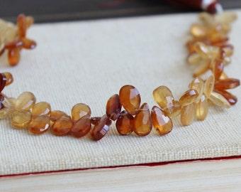 Hessonite Garnet Gemstone Briolette Rust Orange Faceted Pear Teardrop 8 to 9.5mm 36 beads