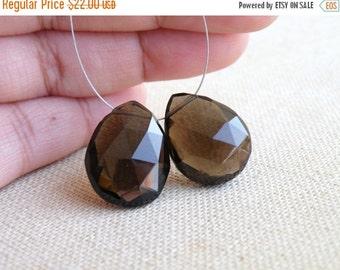 SALE 31% Off Smoky Quartz Gemstone Briolette Faceted Pear Teardrop 21mm 2 beads