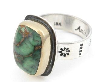 Natural Variscite Ring - 18K gold and sterling silver Variscite ring - Natural Variscite ring - size 7 - Australian Variscite ring