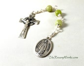 Irish Three Hail Mary Devotion Chaplet Celtic Green Connemara Marble Our Lady of Knock Wire Wrapped Unbreakable Prayer Beads