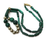 Malachite Necklace - Bead, Long, Vintage Malachite Jewelry