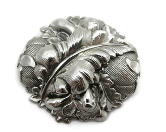 Silver Repousse Brooch - Whiting and Davis, Costume Jewelry