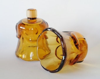 Pair of Vintage Amber Glass Tulip Shaped Votive  Candle Holder