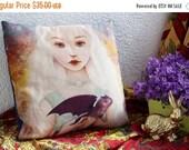ON SALE Dragon Mother Pillow | velvety baby dragon pillow, little girls room, little girl bedding, dec pillow, childrens decor  - 18X18 | Me