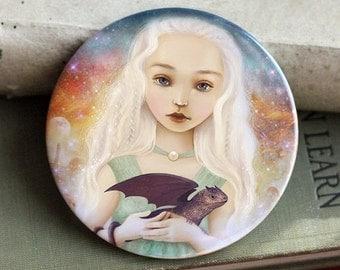 ON SALE Dragon Mother Mirror | pocket mirror, baby dragon, fantasy gift, dragon princess mirror by | art by Meluseena